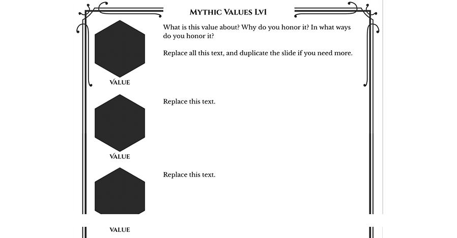 Mythic Values Level 1