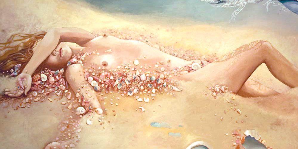 BeachGirlInPinkShells